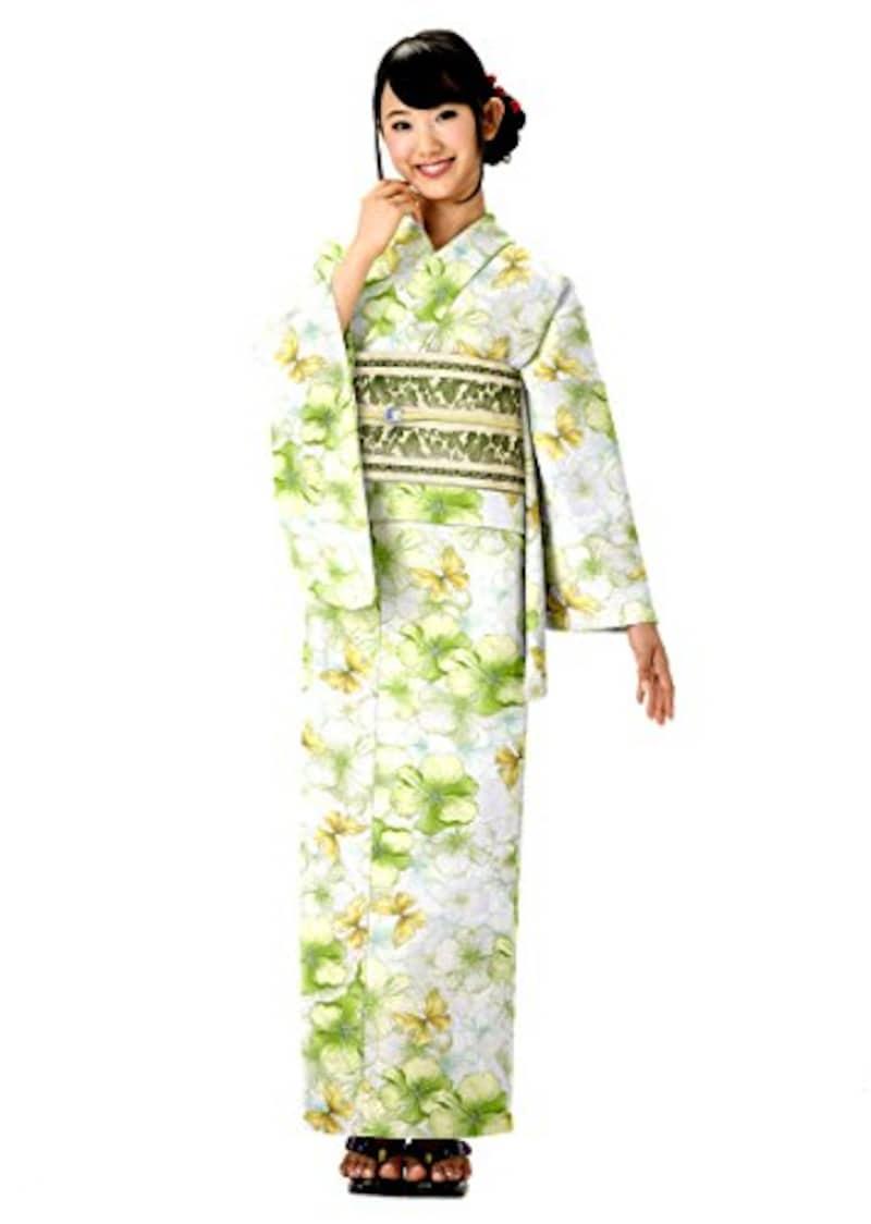 京都スタイル,HANAE MORI  花と蝶を描いた黄緑色の浴衣,ly099