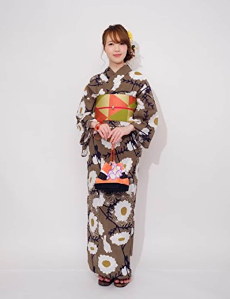 ゆかた屋hiyori,木春菊に野兎の茶色の浴衣