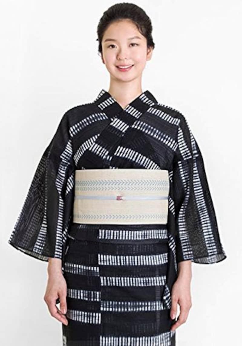 着物屋くるり,白い横段柄の黒地の浴衣,0050111340004-b