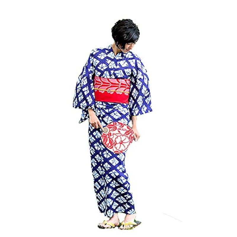 [KIMONOMACHI] 女性 浴衣 紺色に菱形 絞り風