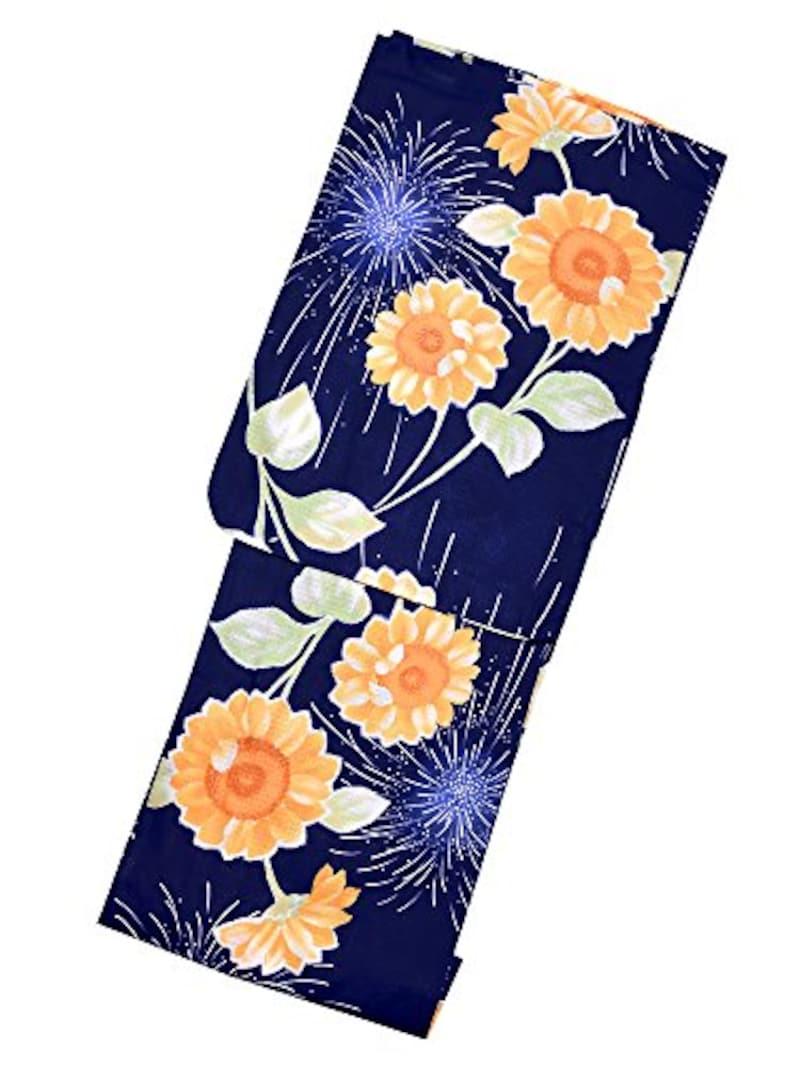 ボヌールセゾン bonheur saisons 浴衣単品「紺色 向日葵と花火」