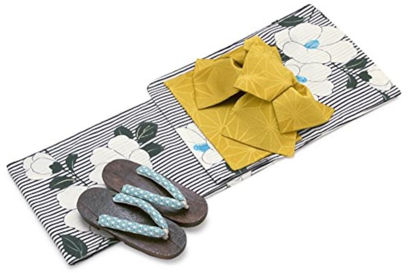 レディース浴衣セット[浴衣/作り帯] bonheur saisons 紺色 ネイビー 白 黄色系 椿