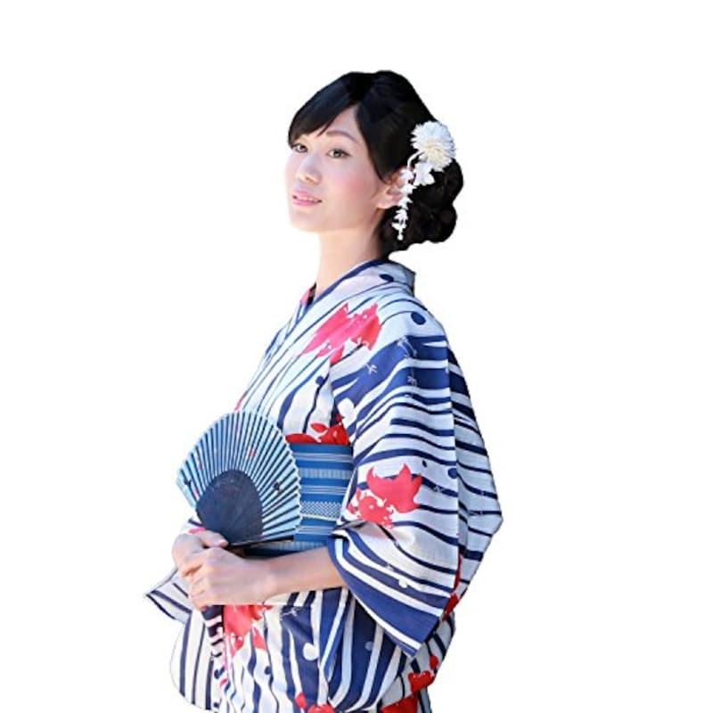 高級綿浴衣3点セット 「白地に紺色よろけ縞 金魚と水草」 浴衣 セット レディース