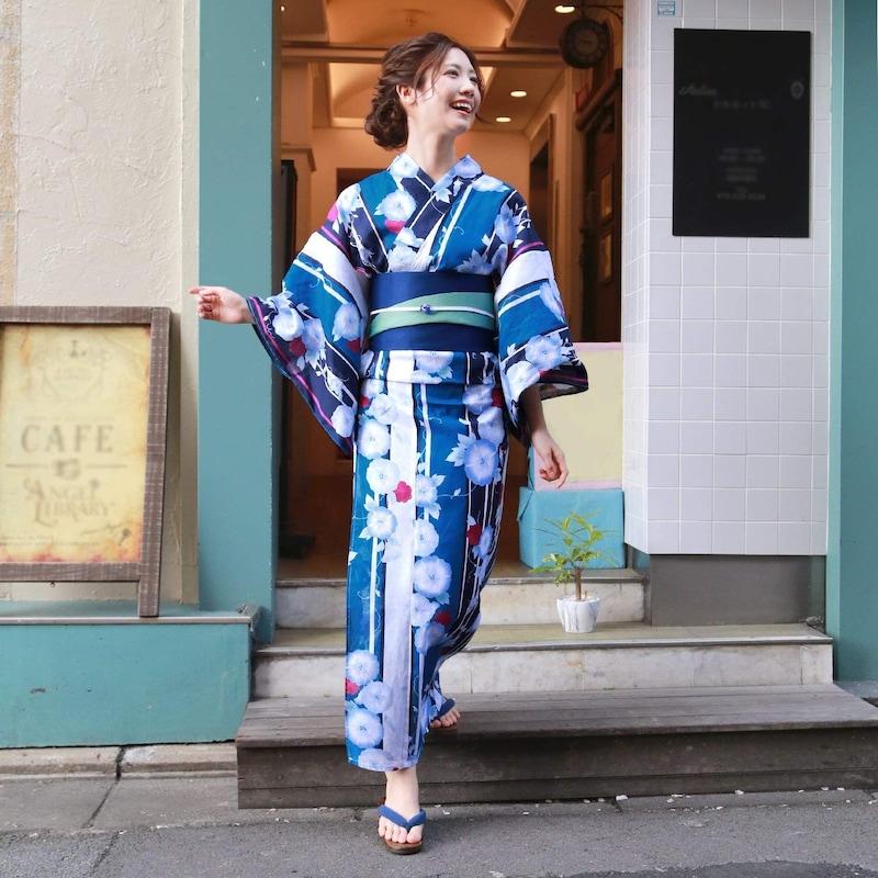 浴衣 レディース セット 青緑と紺の染め分けに青朝顔 ときめき恋浴衣3点セット 朝顔