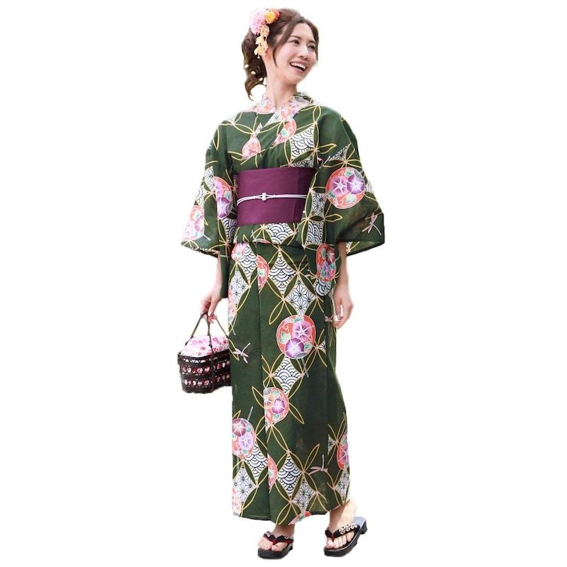 緑地に朝顔うちわと和柄七宝 ときめき夏恋浴衣作り帯3点セット