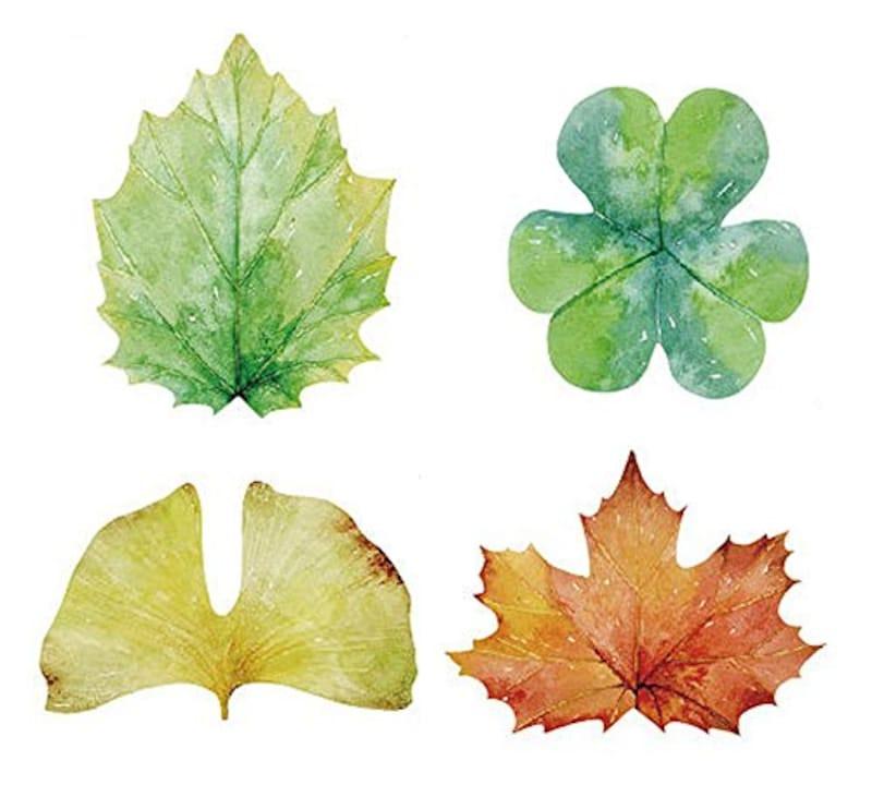 moin moin, 付箋 ふせん 水彩 の 葉っぱ4種セット (イチョウ / もみじ / クローバー / 緑の葉っぱ )