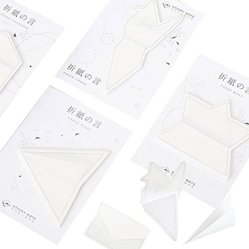 moin moin,付箋 ふせん メモ 折り紙 2ステップで立体型 3D 4種セット (紙飛行機 / 手紙 / 折り鶴 / ボート)