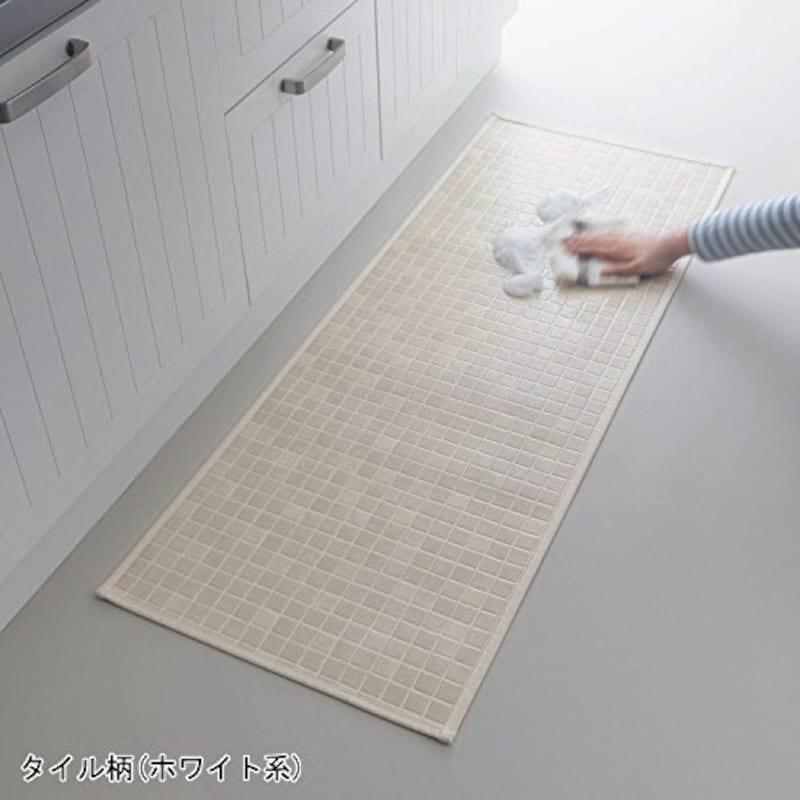 拭ける キッチンマット 日本製 タイル柄(ホワイト系)