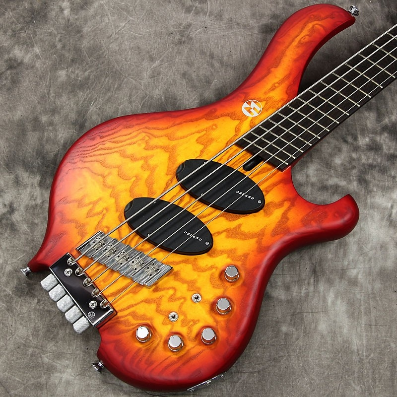 """Maruszczyk Instruments / Frog Omega 5a Headless Multi Scale """"Quilted Ash Top"""" 2 tone sunburst"""