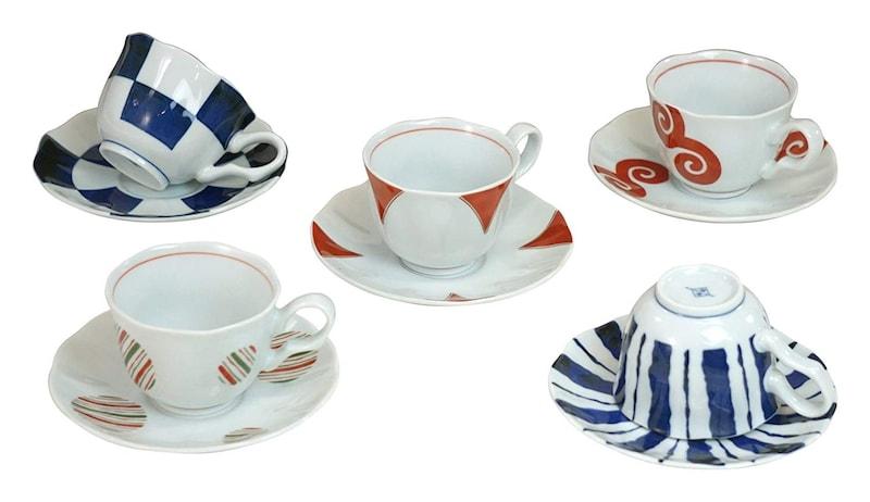 西海陶器,波佐見焼 染錦モダン コーヒーカップ セット ,14112