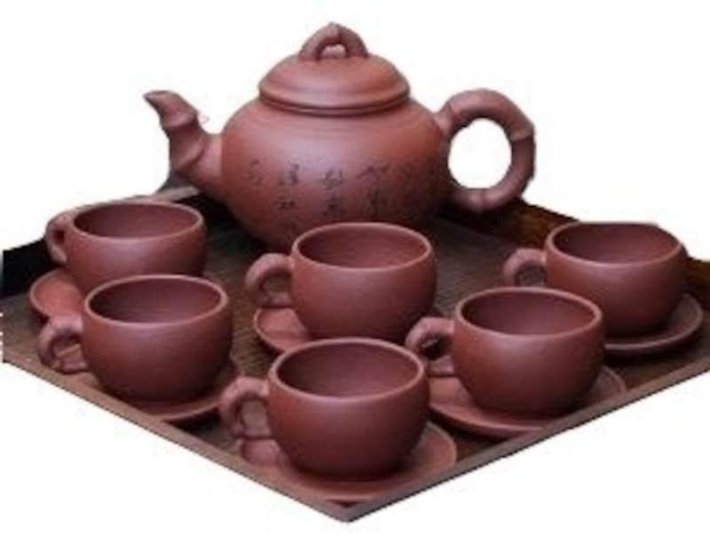 廣友,宣興焼 紅竹茶器セット,ko-54000454
