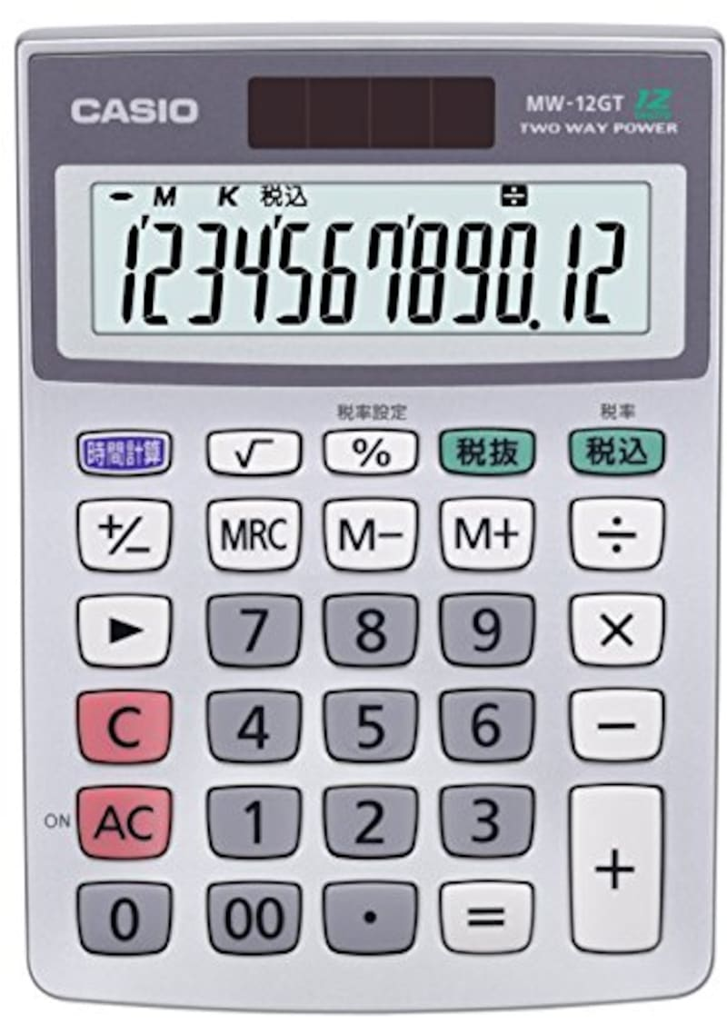 CASIO(カシオ),スタンダード電卓 時間・税計算 ミニジャストタイプ 12桁,MW-12GT-N