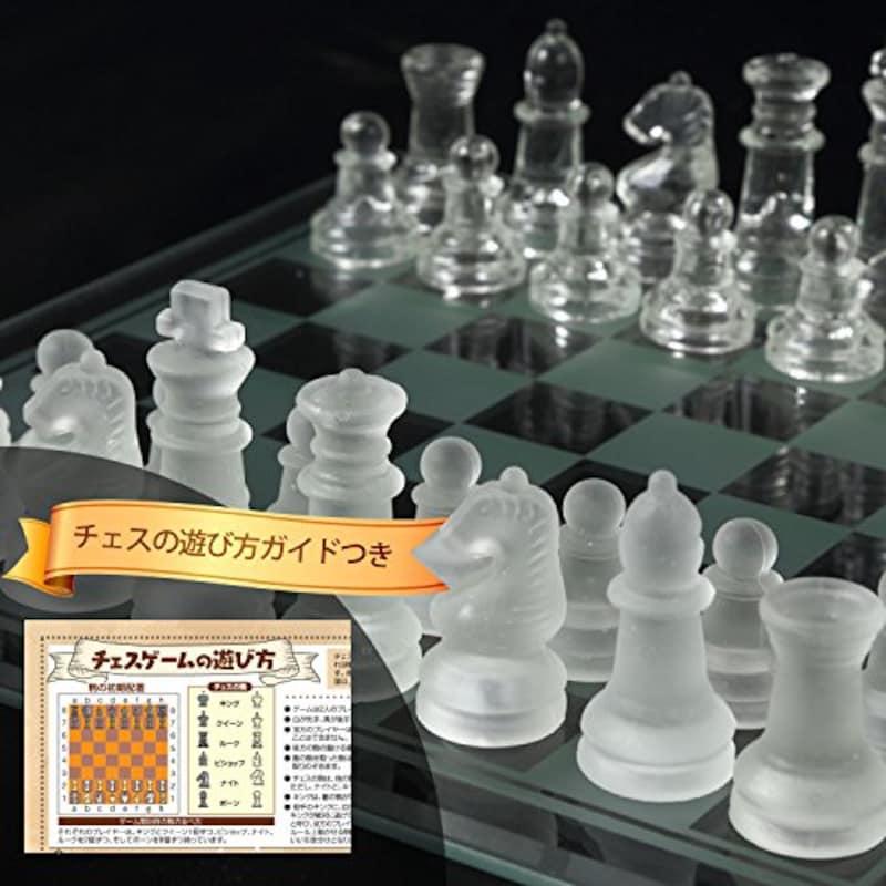 mikketa,チェス クリスタル クリア フロスト 駒 ガラス製
