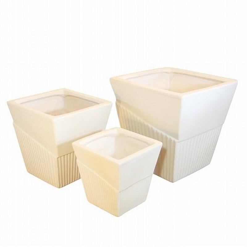 杉江製陶,四角ライン入り植木鉢3点セット,9011C