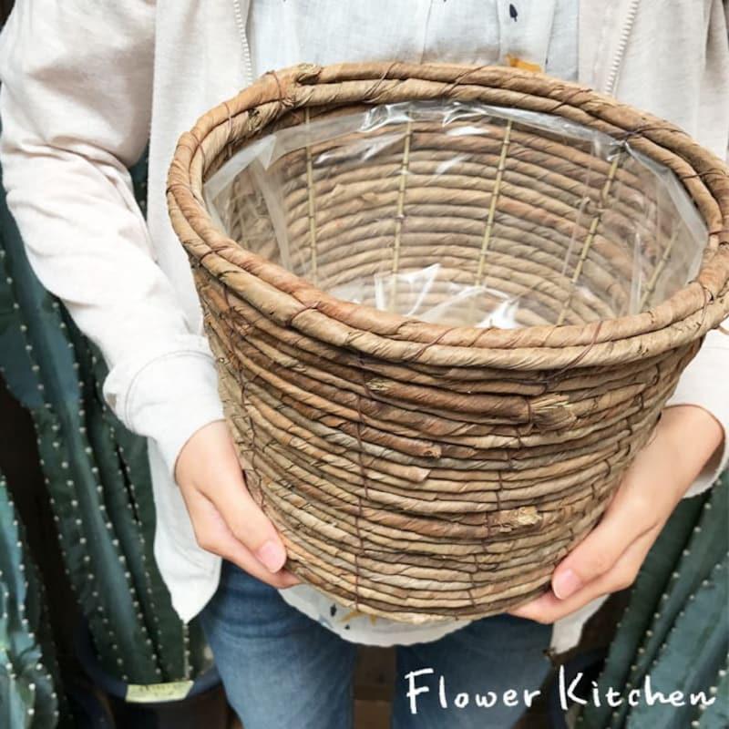 鉢カバー6号茶かご丸
