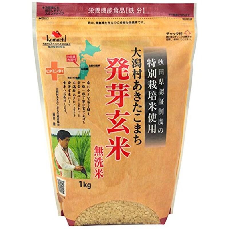 大潟村あきたこまち生産者協会,特別栽培米 大潟村あきたこまち 発芽玄米鉄分 1kg