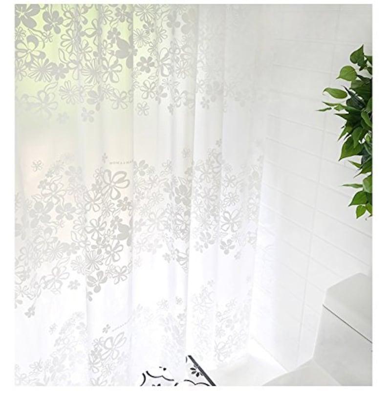JPpan style,シャワーカーテン 白い花柄