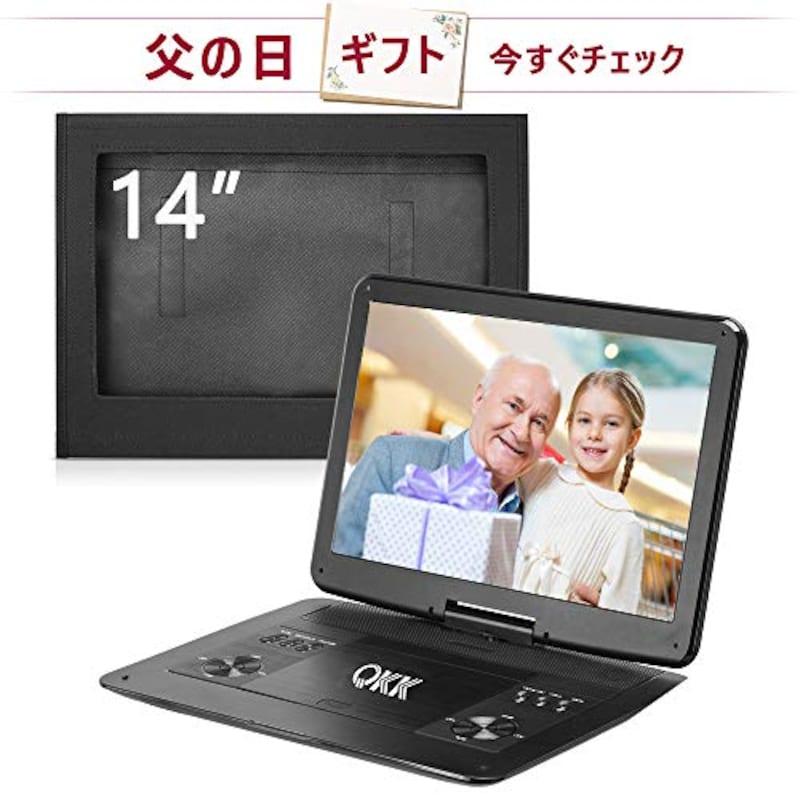 QKK,ポータブルDVDプレーヤー 14インチ超大画面,DP14
