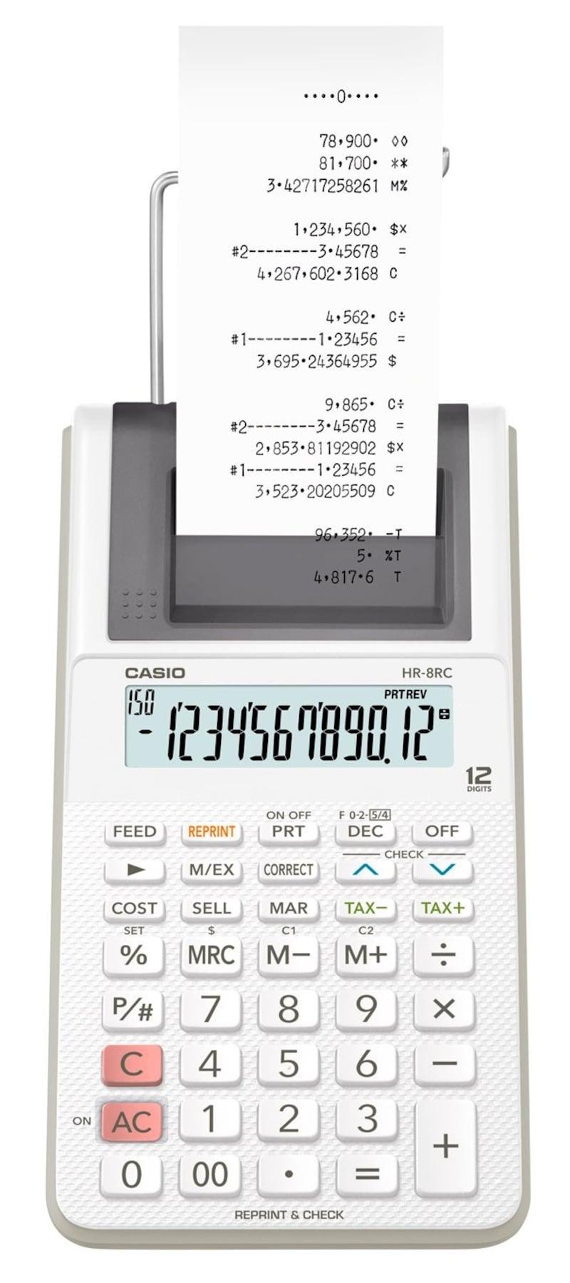 CASIO(カシオ),プリンター電卓,HR-8RC-WE
