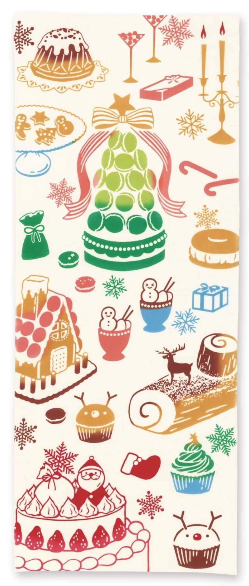 ミヤモトタオル,手ぬぐい注染手拭い クリスマス/クリスマススイーツ,50055