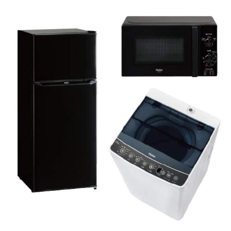ハイアール,冷蔵庫・洗濯機・電子レンジ3点セット,JJR-N130AK+JW-C45AK+JM-17H-60K
