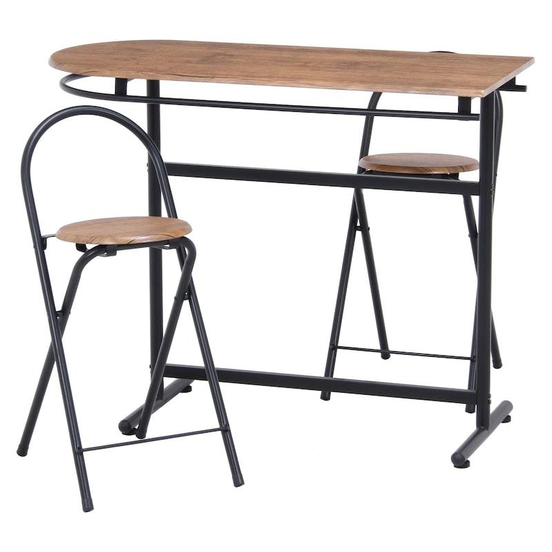 不二貿易,カウンター テーブル チェア 3点セット ブラウン×ブラック
