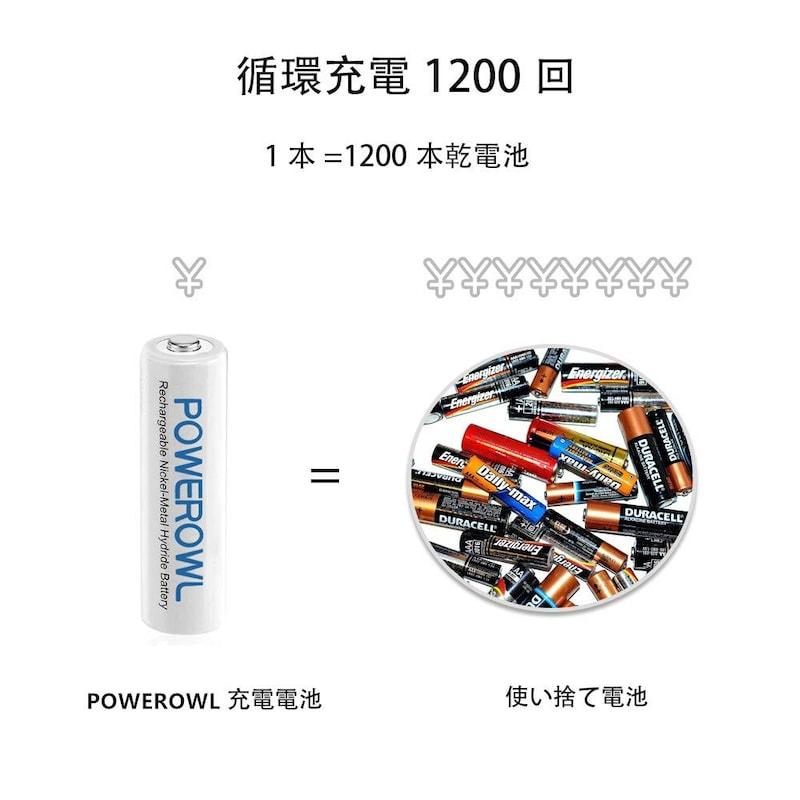POWEROWL,Powerowl単4形充電式ニッケル水素電池  4個セット