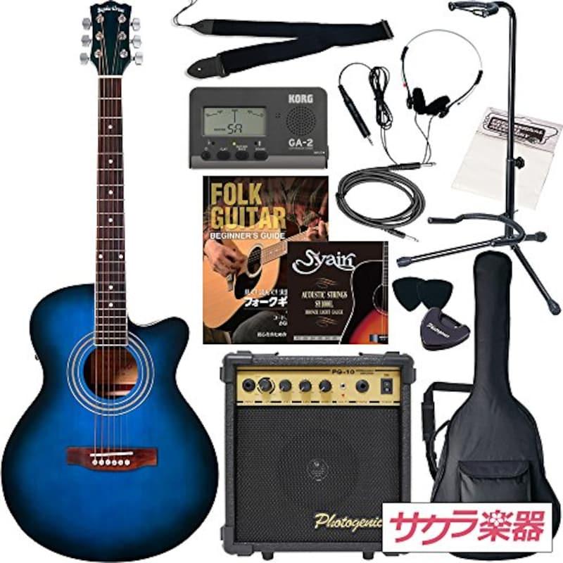 Sepia Crue,エレクトリック・アコースティックギター初心者用13点セット,EAW-01/BLS