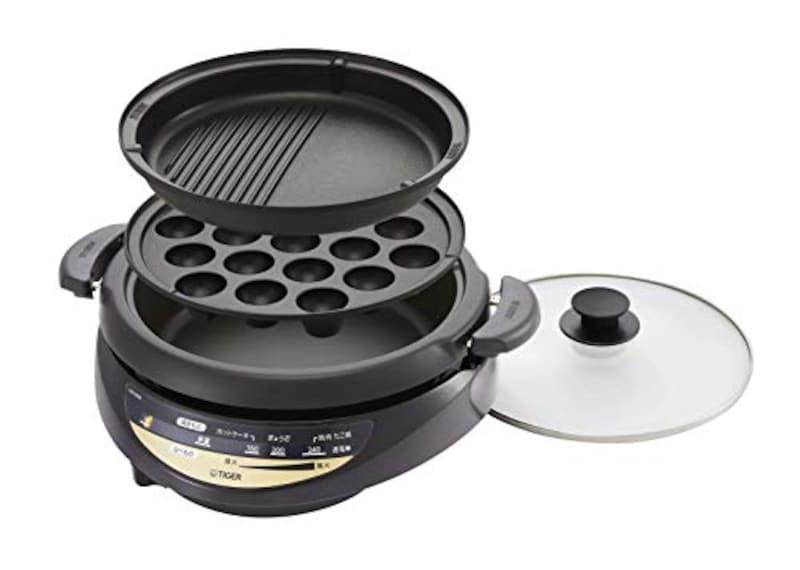 タイガー(TIGER),タイガー グリル鍋 3.7L 深鍋 たこ焼き プレート,CQG-B30N-T