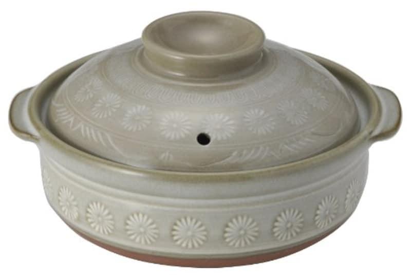 銀峯陶器,萬古焼 花三島 IH対応土鍋7号 1~2人用