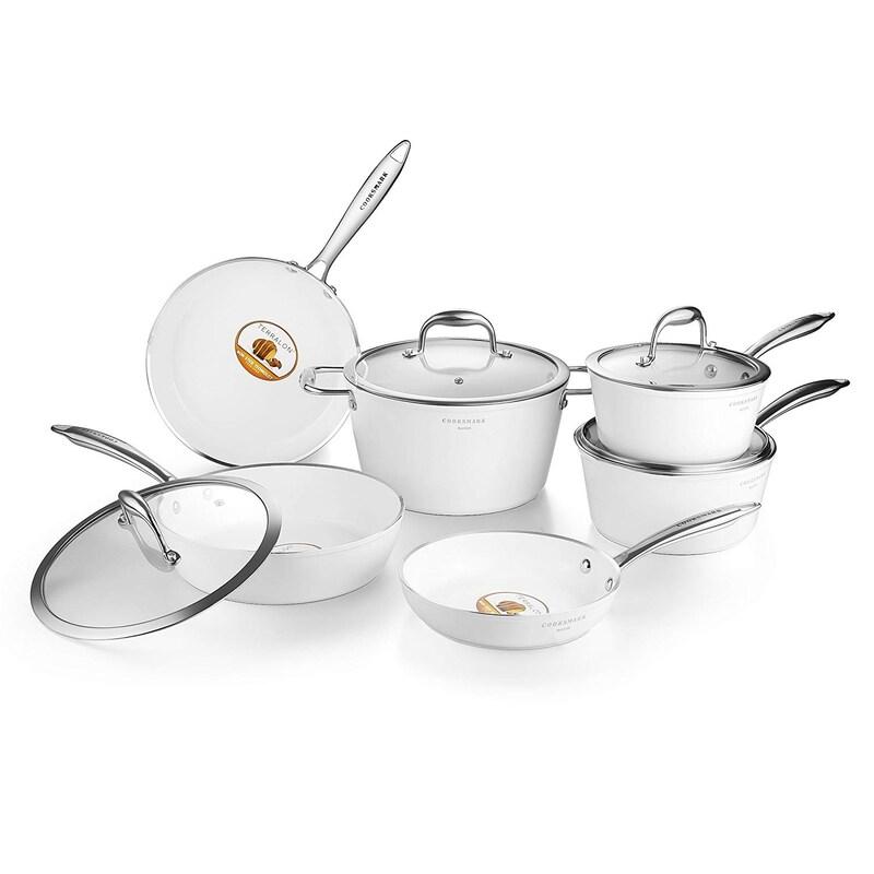 Cooksmark,セラミック コーティング鍋セット 10点セット IH対応 ハクチョウシリーズ