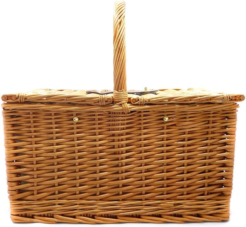 LoaMythos,両開き ピクニック バスケット カトラリーセット