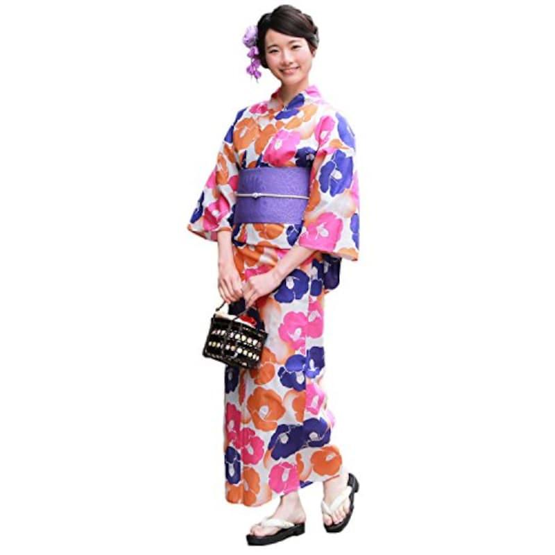 ブリリアントピース,ポップな椿柄の多色づかいの浴衣,ky-164900-f-40401869