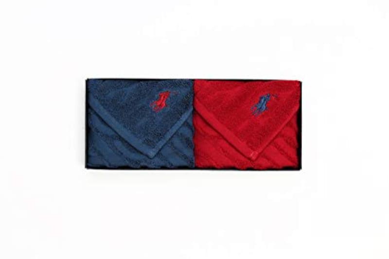 ラルフローレン(Ralph Lauren) , ハンドタオル ギフトBOX付き ハンドタオル2枚セット(無地レッドブルー),オールシーズン使用できる