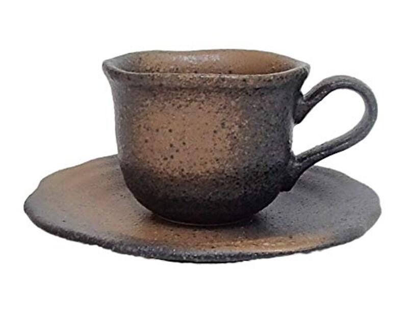 美濃焼(四季彩-陶器ONLINE-),黒備前吹きフリル コーヒーカップソーサー,b446-09
