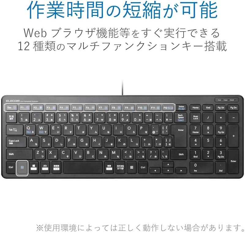 ELECOM(エレコム),有線薄型コンパクトキーボード,TK-FCP097BK