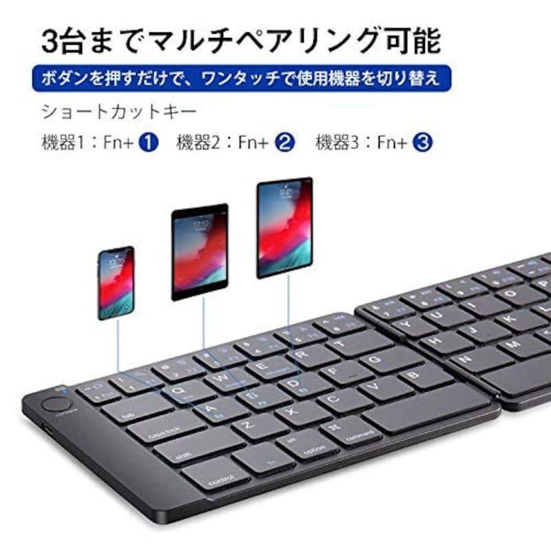 Ewin,Bluetoothキーボード 薄型 レザーカバー,EW-ZR050B