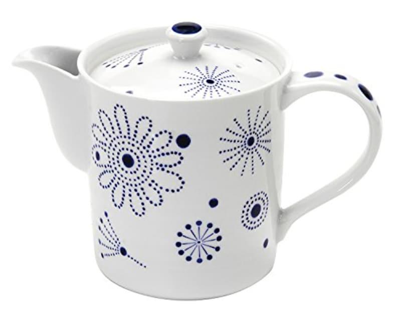 イツミ陶器,ティーポット 白 (筒型茶こしつき) カーニバル,50257