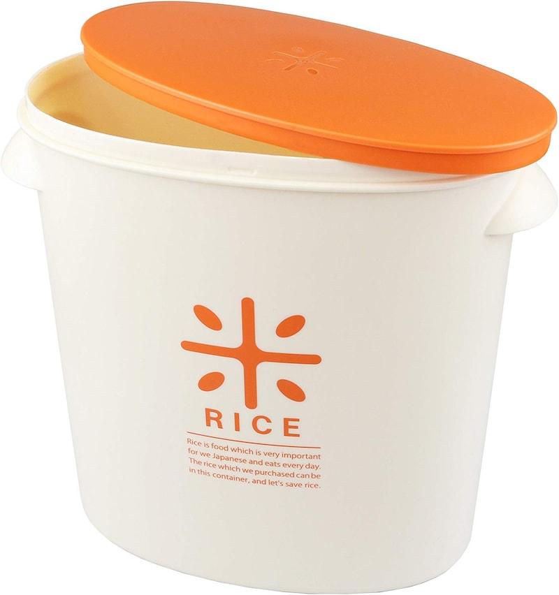 パール金属,米びつ 5kg オレンジ 計量カップ付 ,HB-3435