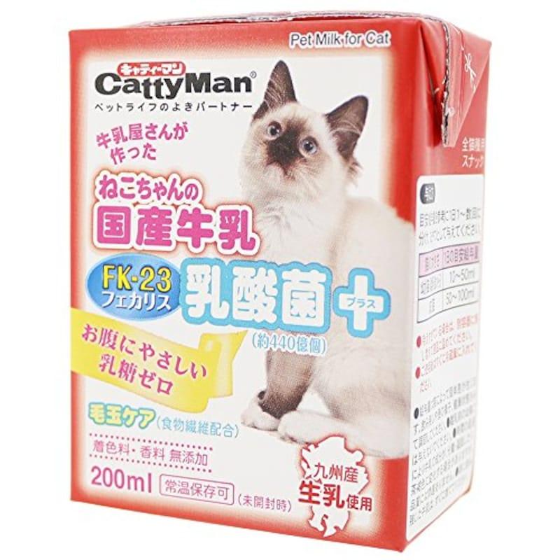 キャティーマン (CattyMan),ねこちゃんの国産牛乳 乳酸菌プラス 200ml×24個入り