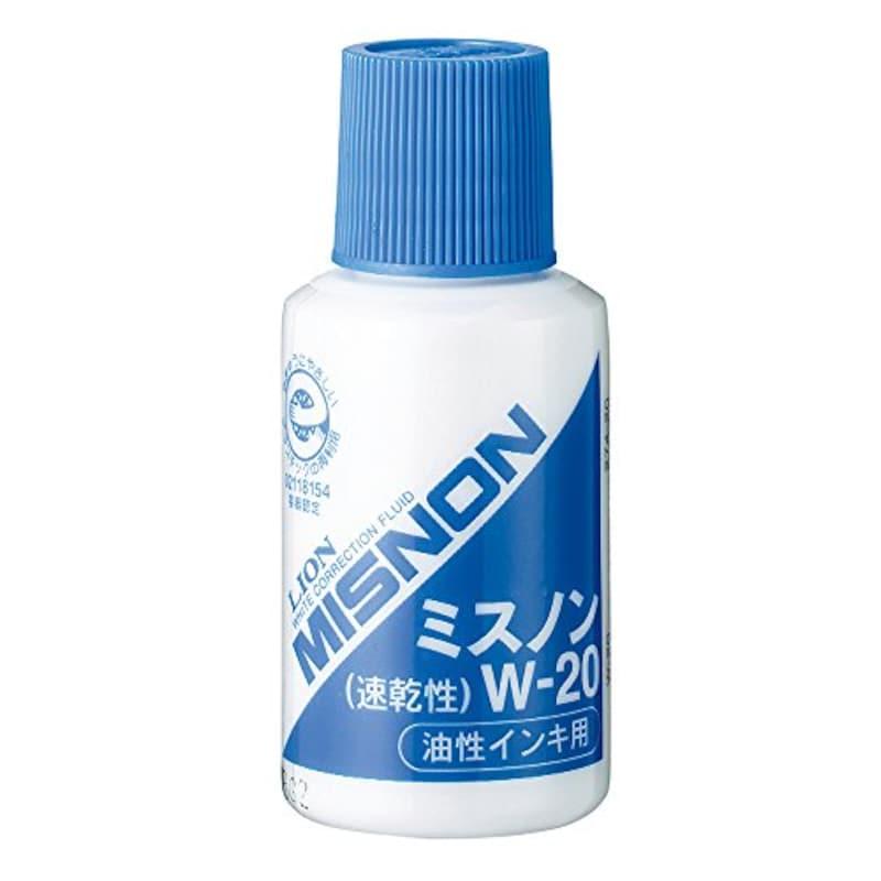 ライオン事務器,修正液 ミスノン 油性インキ用,W-20