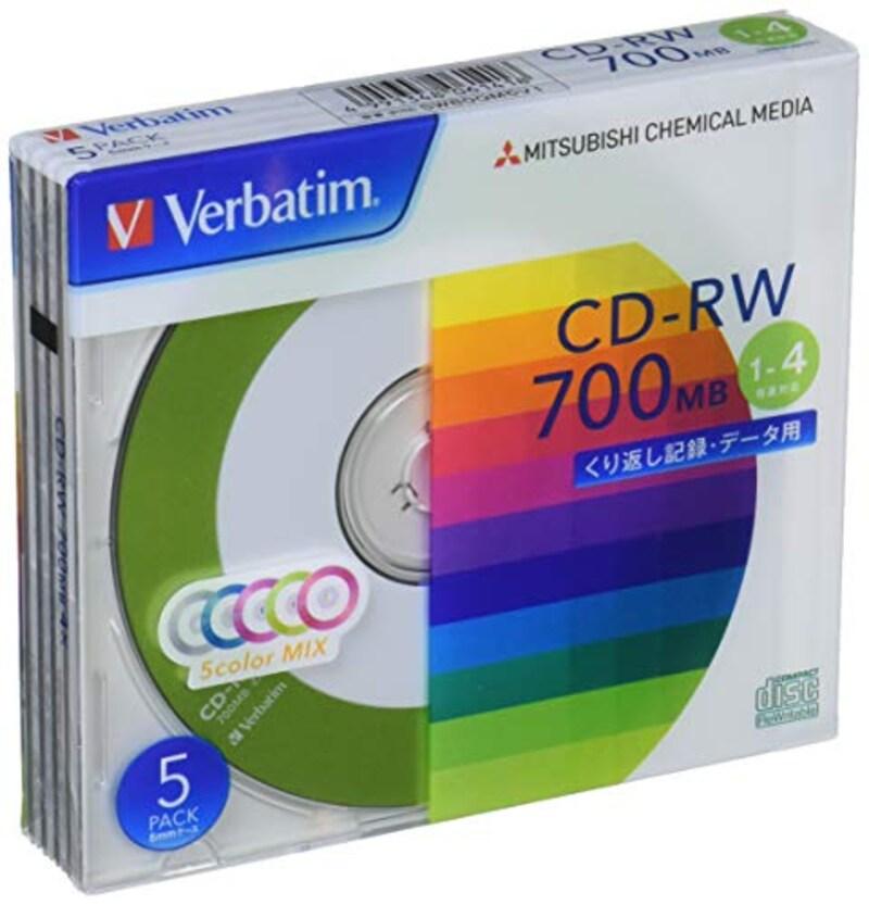 三菱ケミカルメディア,くり返し記録用 CD-RW 700MB 5枚,SW80QM5V1