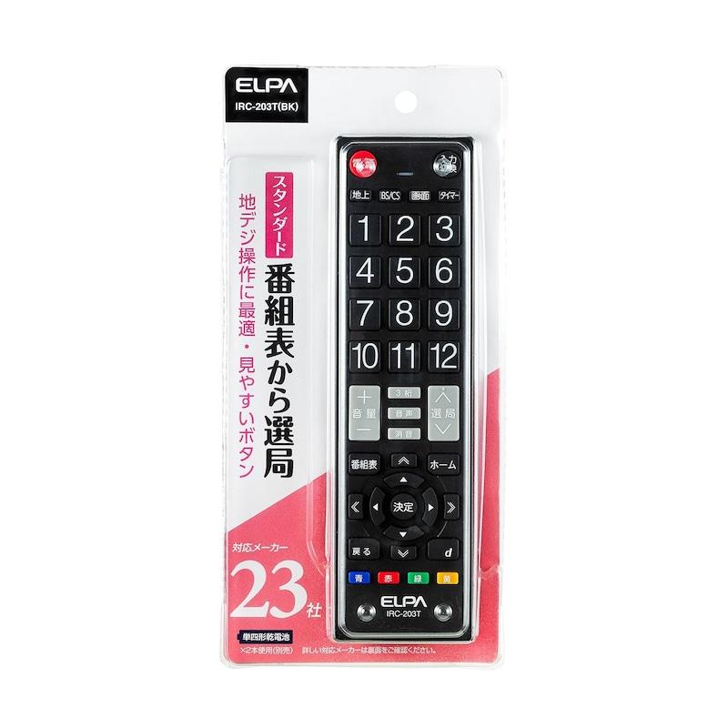 ELPA,テレビリモコン,IRC-203T(BK)