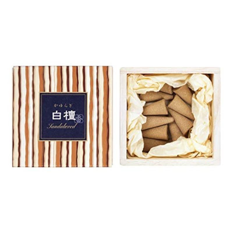 日本香堂,かゆらぎ 白檀 コーン12個入 香立付