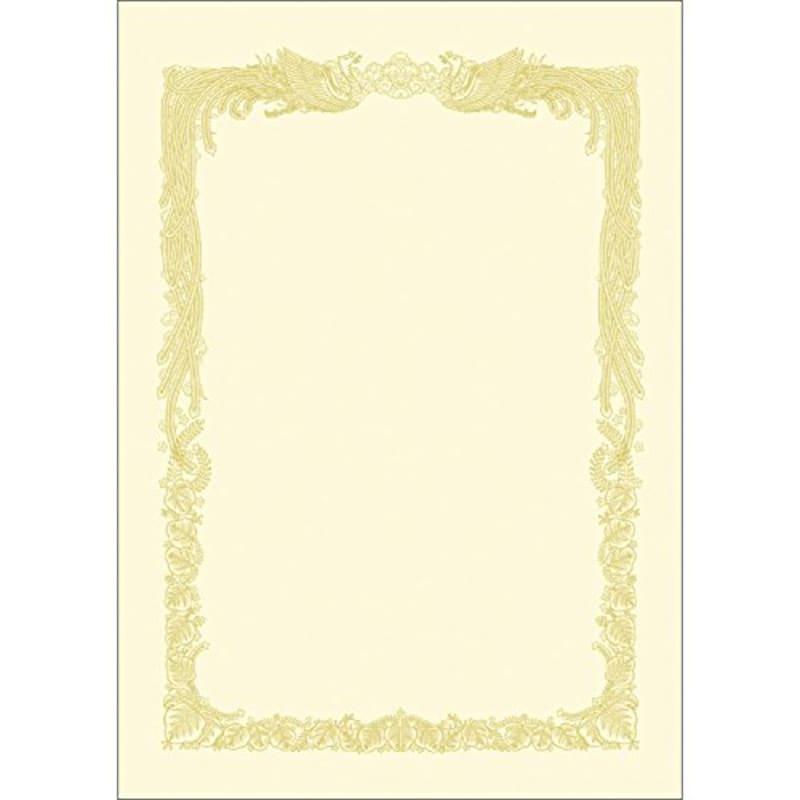 ササガワ ,ササガワ タカ印 賞状用紙 OA対応 A4 横書き クリーム ケント紙,10-1068
