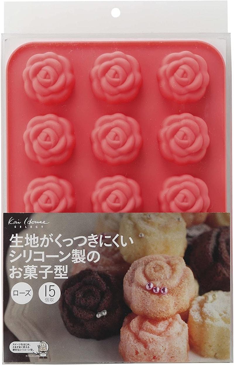 貝印,お菓子型 15個取り ローズ,DL-6249