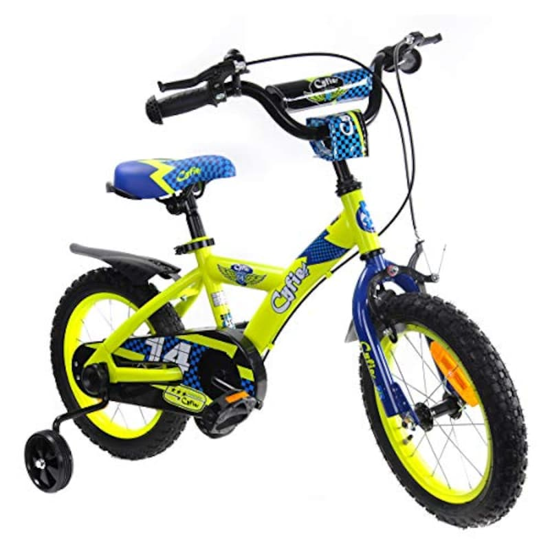 Cyfie,子供用自転車 泥除け付き 補助輪付き 滑り止めハンドル付き