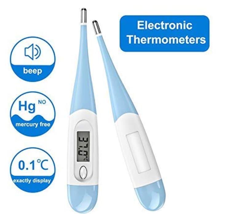 【在庫あり】,デジタル体温-計 電子温度測定 (ブルー2Pack)