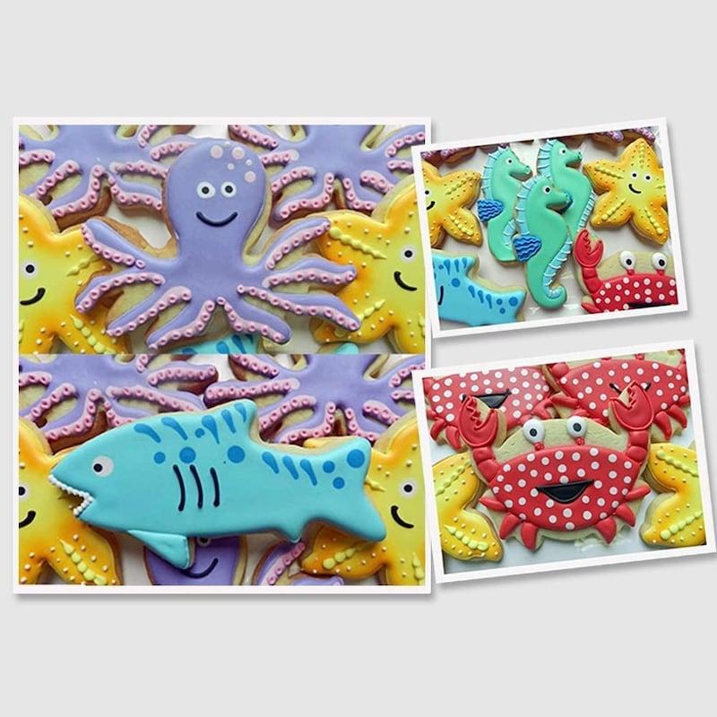 HANGNUO,10個セット クッキー型 ステンレス 海洋生物