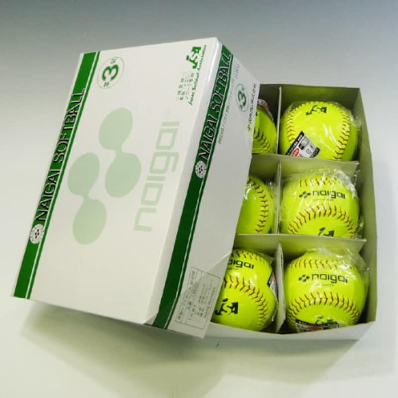 NAIGAI(ナイガイゴム) 革製イエローソフトボール検定球 3号 1箱(6ヶ入)